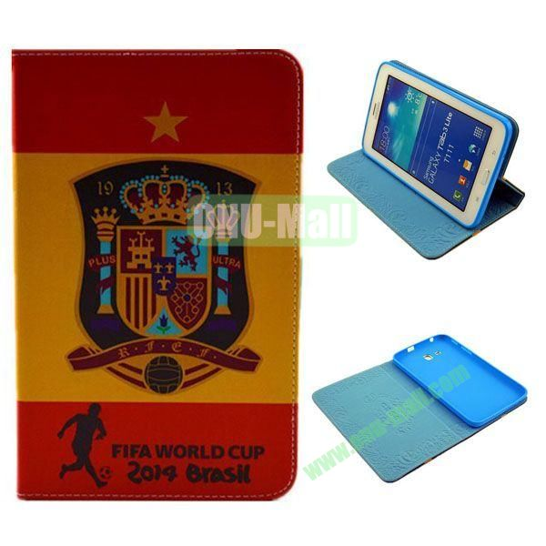 2014 FIFA World Cup Pattern TPU + PU Leather Case for Samsung T110 Galaxy Tab 3 Lite (Plus)