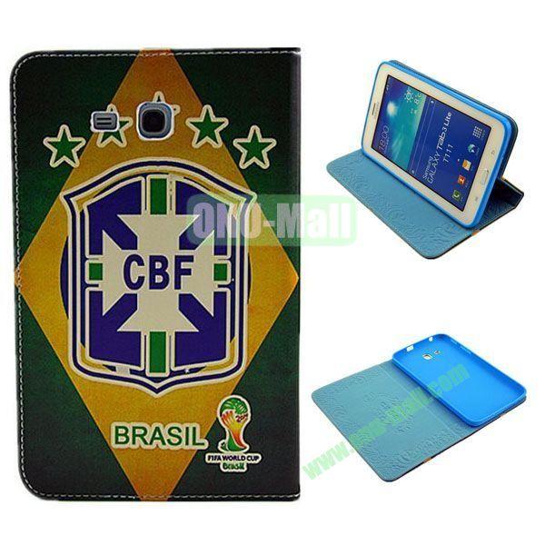 2014 FIFA World Cup Pattern TPU + PU Leather Case for Samsung T110 Galaxy Tab 3 Lite (CBF)