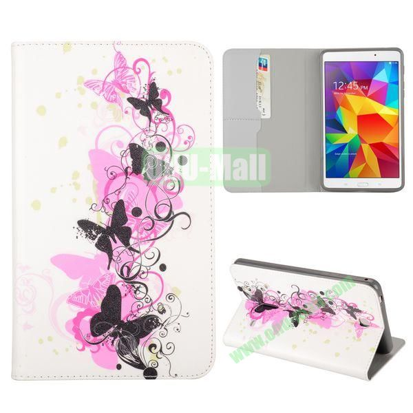 Black Buttterfly Flowers Pattern Flip Stand TPU and PU Leather Case For Samsung Galaxy Tab 4 7.0 T230 T231 T235 with Card Slot