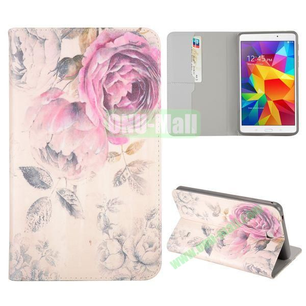 Unique Rose Flowers Pattern Flip Stand TPU and PU Leather Case For Samsung Galaxy Tab 4 7.0 T230 T231 T235 with Card Slot