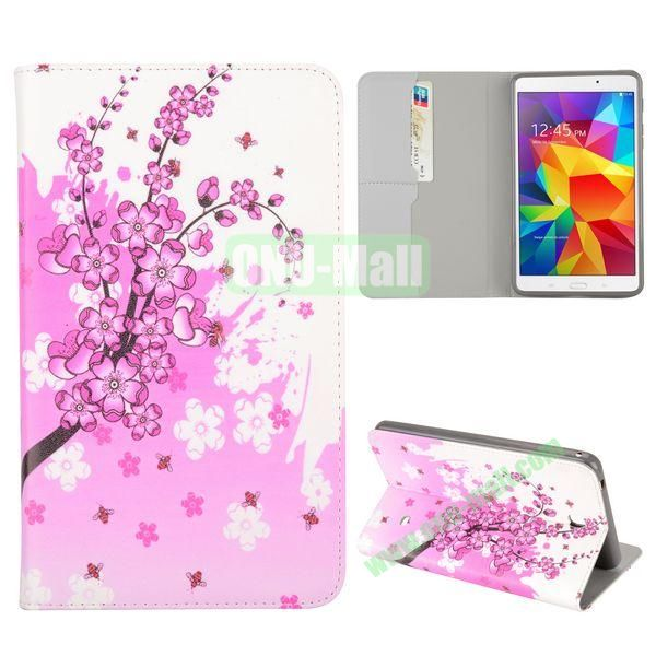 Pink Plum Blossoms Pattern Flip Stand TPU and PU Leather Case For Samsung Galaxy Tab 4 7.0 T230 T231 T235 with Card Slot