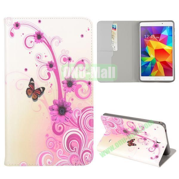 Beautiful Flowers and Butterfly Pattern Flip Stand TPU and PU Leather Case For Samsung Galaxy Tab 4 7.0 T230 T231 T235 with Card Slot