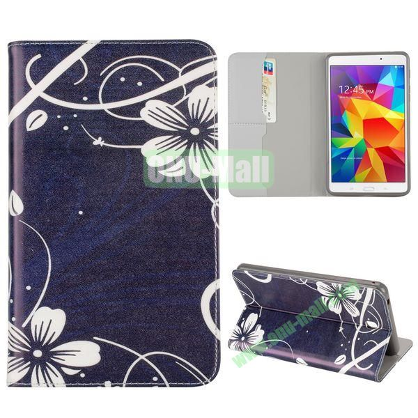 Pretty Flowers Pattern Flip Stand TPU and PU Leather Case For Samsung Galaxy Tab 4 7.0 T230 T231 T235 with Card Slot