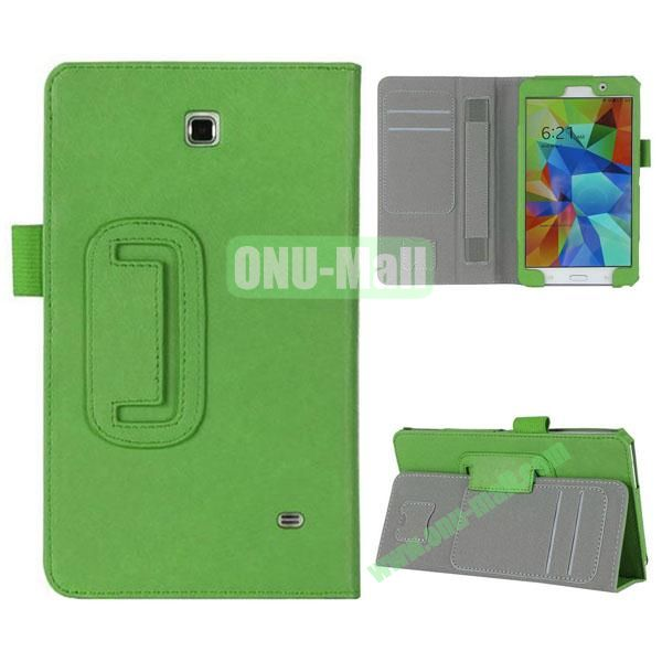 High Quality Flip Stand Genuine Leather Case with Card Slots and Armband Belt for Samsung T230 Galaxy Tab 4 7.0 (Green)
