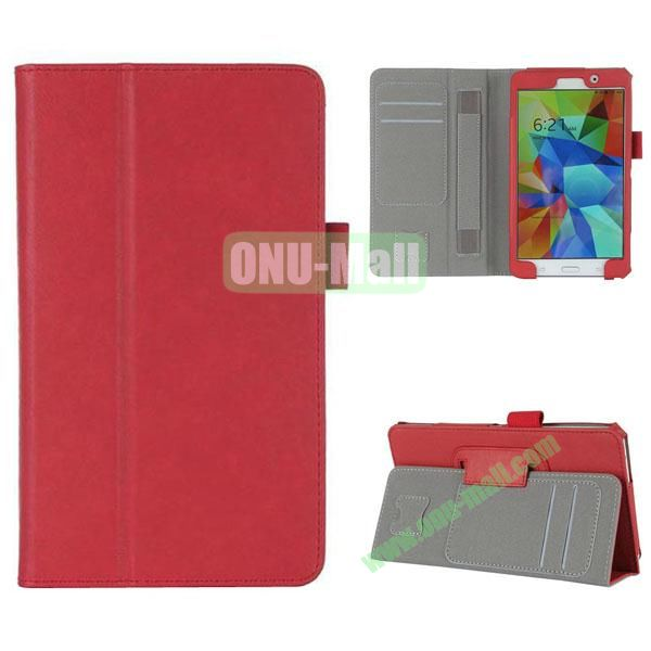 High Quality Flip Stand Genuine Leather Case with Card Slots and Armband Belt for Samsung T230 Galaxy Tab 4 7.0 (Red)