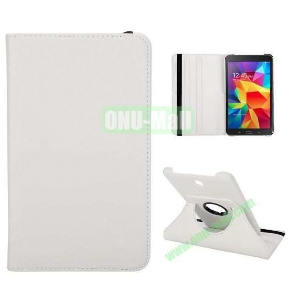 360 Degree Rotation Litchi Texture Leather Case for Samsung Galaxy Tab 4 7.0  T230  (White)