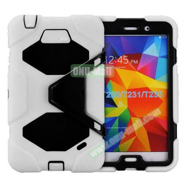 2 in 1 Pattern PC + Silicone Hybrid Case for Samsung Galaxy Tab 4 T230 with Kickstand(White)