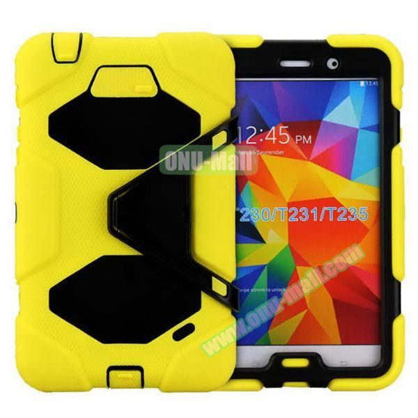 2 in 1 Pattern PC + Silicone Hybrid Case for Samsung Galaxy Tab 4 T230 with Kickstand (Yellow)