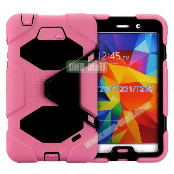 2 in 1 Pattern PC + Silicone Hybrid Case for Samsung Galaxy Tab 4 T230 with Kickstand(Pink)