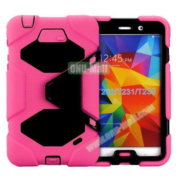 2 in 1 Pattern PC + Silicone Hybrid Case for Samsung Galaxy Tab 4 T230 with Kickstand (Rose)