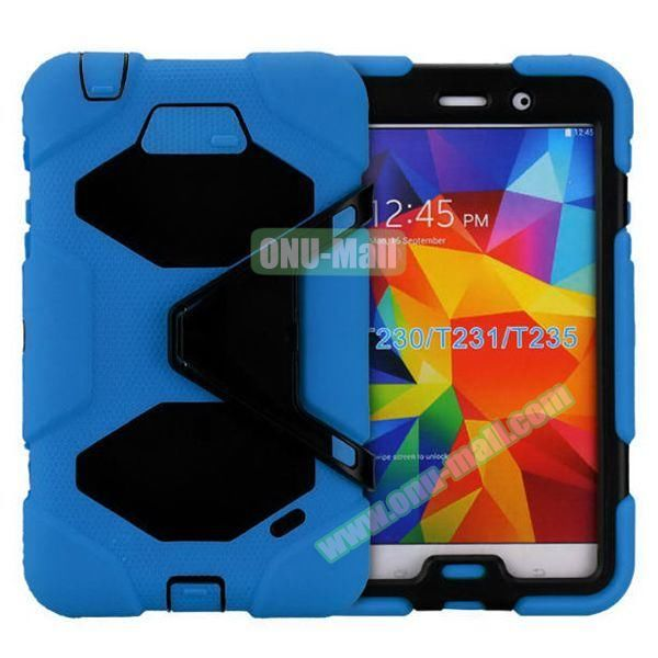 2 in 1 Pattern PC + Silicone Hybrid Case for Samsung Galaxy Tab 4 T230 with Kickstand (Blue)