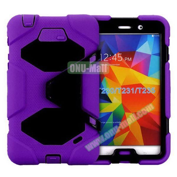 2 in 1 Pattern PC + Silicone Hybrid Case for Samsung Galaxy Tab 4 T230 with Kickstand (Purple)