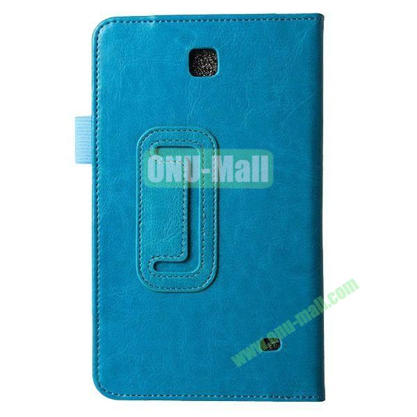 Crazy Horse Texture Flip Stand Leather Case for Samsung Galaxy 4 7.0  T230 (Cyan)