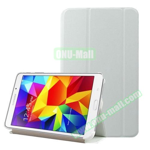 2-folding Wave Texture Flip Leather Case for Samsung Galaxy Tab 4 7.0 T230 with Holder & Sleep / Wake-up Function (White)