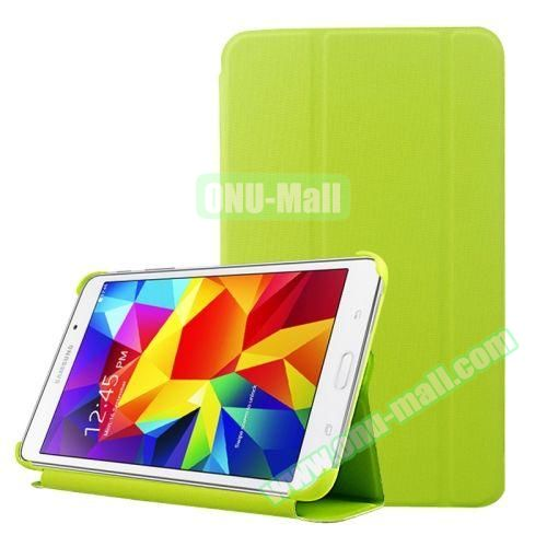 2-folding Wave Texture Flip Leather Case for Samsung Galaxy Tab 4 7.0 T230 with Holder & Sleep / Wake-up Function (Green)