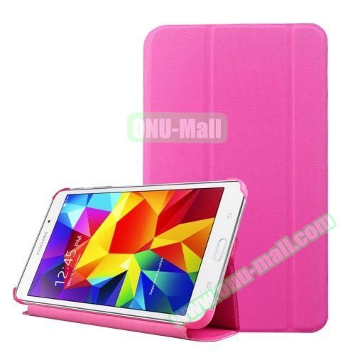2-folding Wave Texture Flip Leather Case for Samsung Galaxy Tab 4 7.0 T230 with Holder & Sleep / Wake-up Function (Rose)