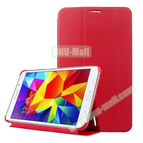 2-folding Wave Texture Flip Leather Case for Samsung Galaxy Tab 4 7.0 T230 with Holder & Sleep / Wake-up Function (Red)