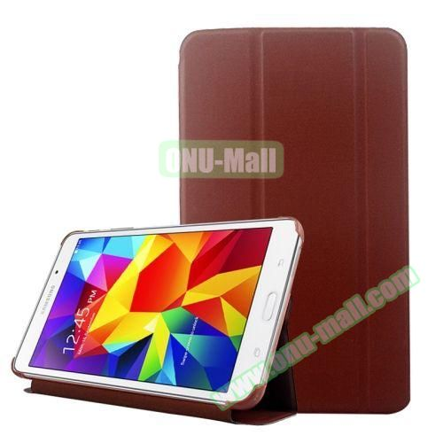 2-folding Wave Texture Flip Leather Case for Samsung Galaxy Tab 4 7.0 T230 with Holder & Sleep / Wake-up Function (Brown)