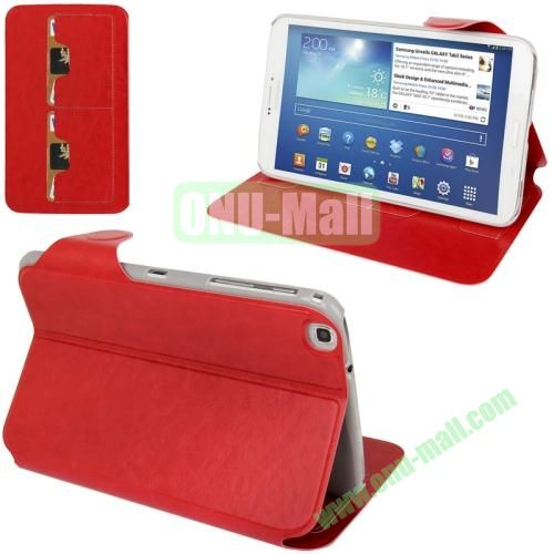 Belk Series Crazy Horse Texture Magnetic Flip Leather Case for Samsung Galaxy Tab 3 with Wake-up Function , Card slots and Holder (Red)