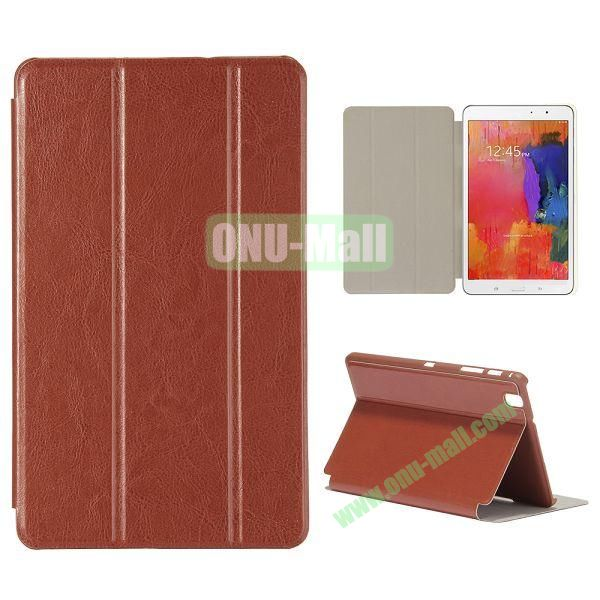 Crystal Grain 3 Folding Leather Case for Samsung Galaxy Tab Pro 8.4 T320 (Brown)