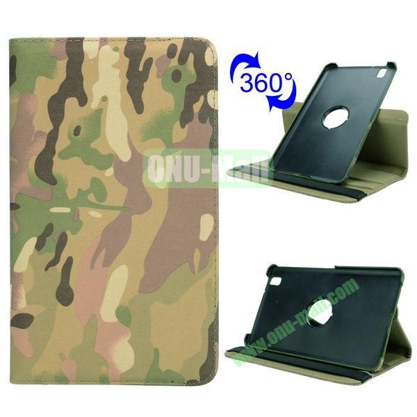 Retro Pattern Cloth Texture 360 Rotating Flip Leather Case for Samsung Galaxy Tab Pro 8.4 T320 with Belt (Camouflage)