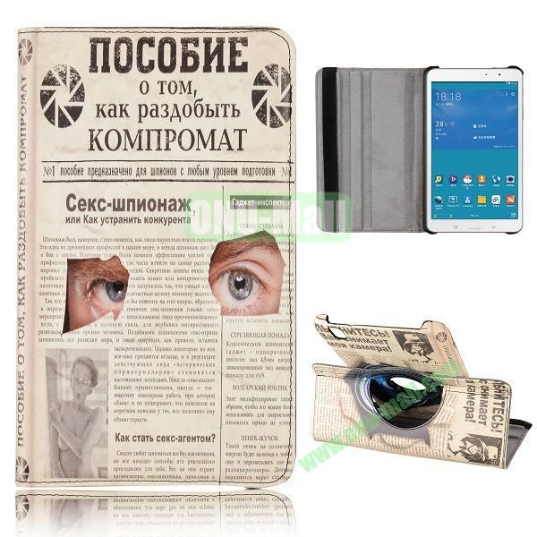 360 Degree Rotatable Leather Case for Samsung Galaxy Tab Pro 8.4 T320 (Paper and Eyes Pattern)