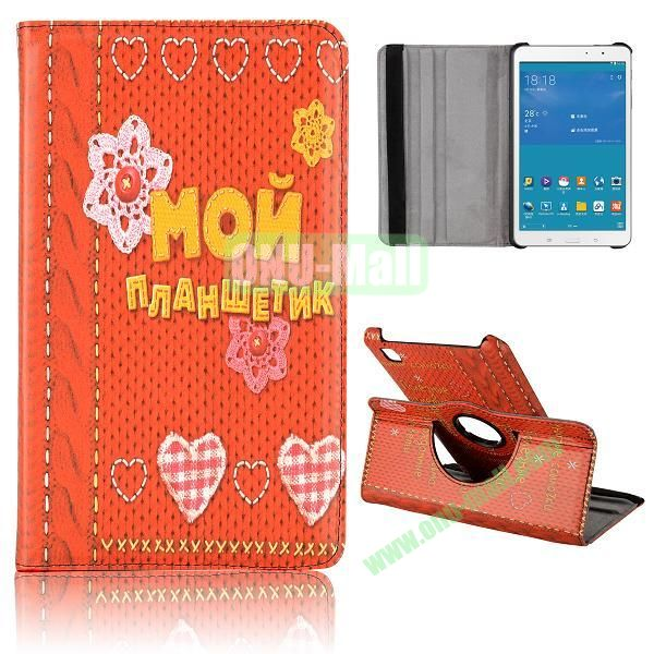 360 Degree Rotatable Leather Case for Samsung Galaxy Tab Pro 8.4 T320 (Flowers and Heart Pattern)