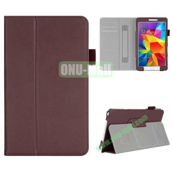 High Quality Flip Stand Leather Case for with Card Slots and Armband Belt for Samsung Galaxy Tab 4 8.0  T330 (Brown)