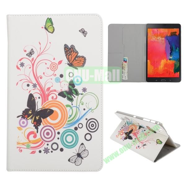 Music Butterfly Pattern Card Slots Slid Flip Stand PC + PU Leather Case For Samsung Galaxy Tab Pro 8.4 T320