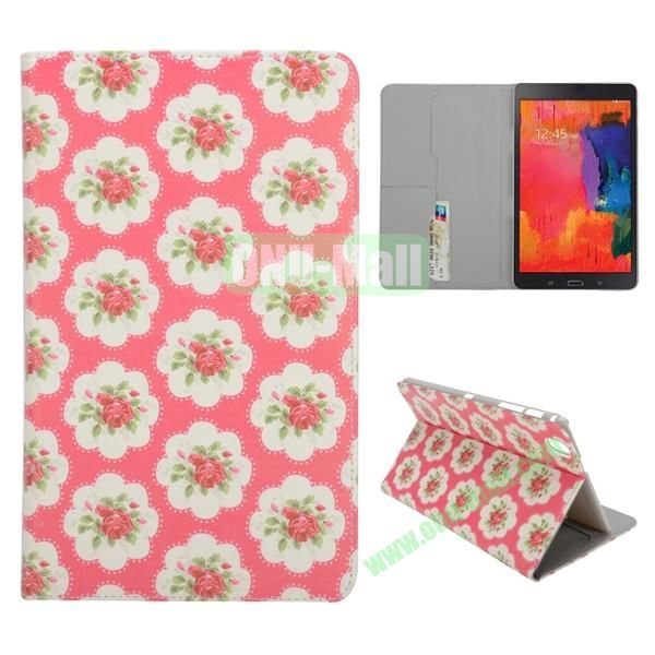 Flowers Pattern Card Slots Slid Flip Stand PC + PU Leather Case For Samsung Galaxy Tab Pro 8.4 T320