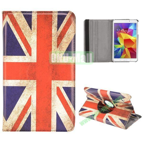 360 Degree Rotatable Leather Case for Samsung Galaxy Tab 4 8.0 T330 (Retro UK Flag)