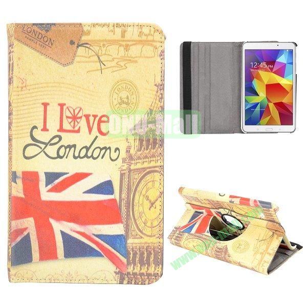 360 Degree Rotatable Leather Case for Samsung Galaxy Tab 4 8.0 T330 (Retro UK Flag and Big Ben)