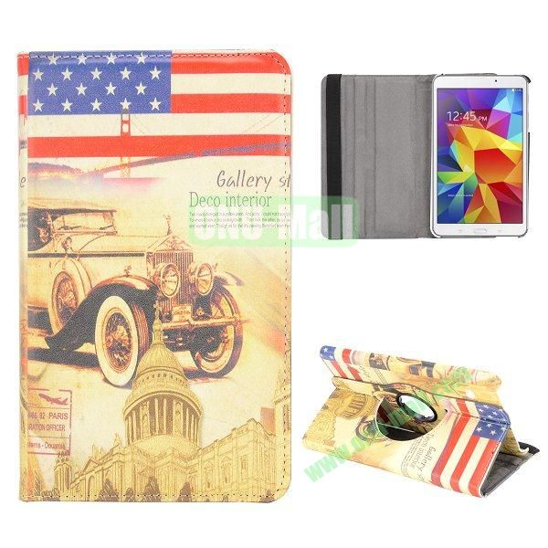 360 Degree Rotatable Leather Case for Samsung Galaxy Tab 4 8.0 T330 (Retro USA Flag and Car Pattern)