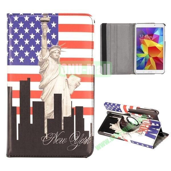 360 Degree Rotatable Leather Case for Samsung Galaxy Tab 4 8.0 T330 (USA Flag and Statue of Liberty)