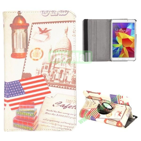 360 Degree Rotatable Leather Case for Samsung Galaxy Tab 4 8.0 T330 (USA Flag and History Building)