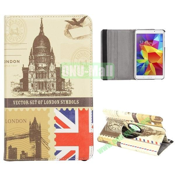 360 Degree Rotatable Leather Case for Samsung Galaxy Tab 4 8.0 T330 (London of Building and Scenery)