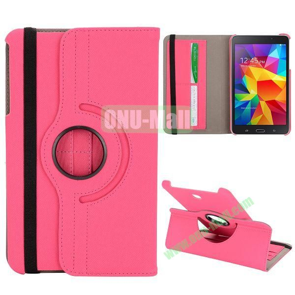 360 Degree Rotation Cloth Texture Leather Cover for Samsung Galaxy Tab 4 8.0 T330 ( Rose )