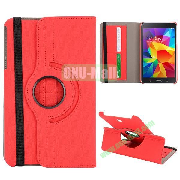 360 Degree Rotation Cloth Texture Leather Cover for Samsung Galaxy Tab 4 8.0 T330 ( Red )