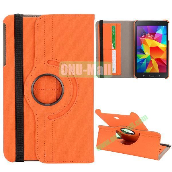 360 Degree Rotation Cloth Texture Leather Cover for Samsung Galaxy Tab 4 8.0 T330 ( Orange )