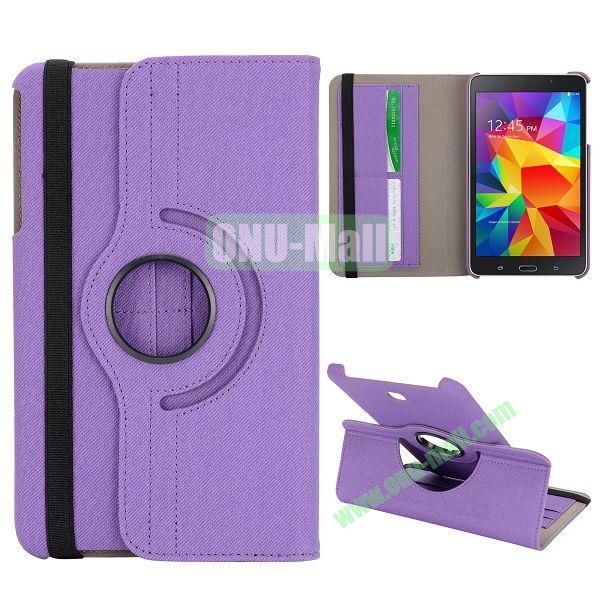 360 Degree Rotation Cloth Texture Leather Cover for Samsung Galaxy Tab 4 8.0 T330 ( Purple )
