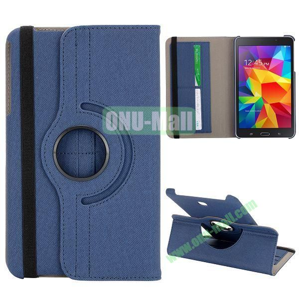 360 Degree Rotation Cloth Texture Leather Cover for Samsung Galaxy Tab 4 8.0 T330 ( Dark Blue )
