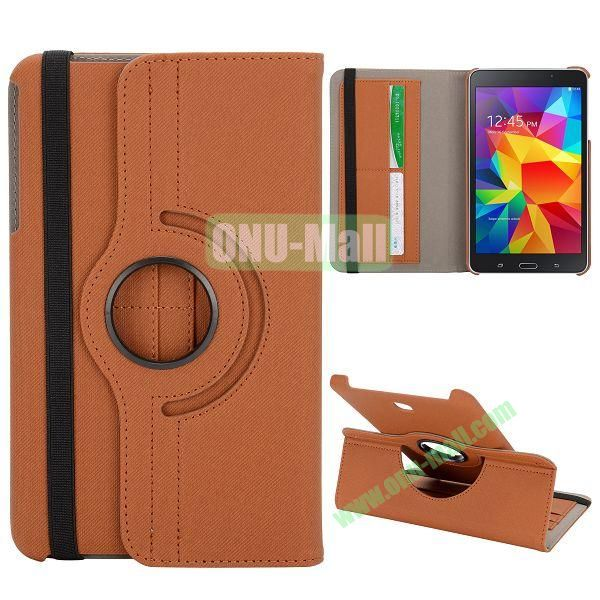 360 Degree Rotation Cloth Texture Leather Cover for Samsung Galaxy Tab 4 8.0 T330 ( Brown )