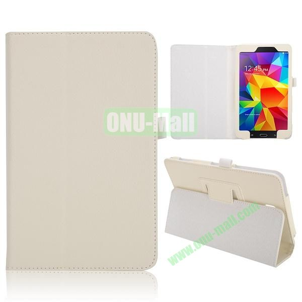 Lichee Texture Foldable Flip Leather Cover for Samsung Galaxy Tab 4 8.0 T330 ( White )