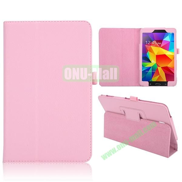Lichee Texture Foldable Flip Leather Cover for Samsung Galaxy Tab 4 8.0 T330 ( Pink )