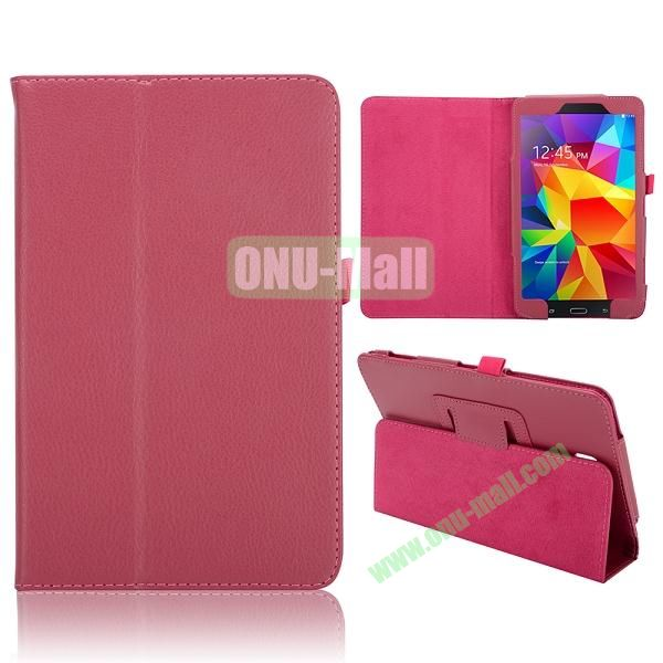 Lichee Texture Foldable Flip Leather Cover for Samsung Galaxy Tab 4 8.0 T330 ( Rose )