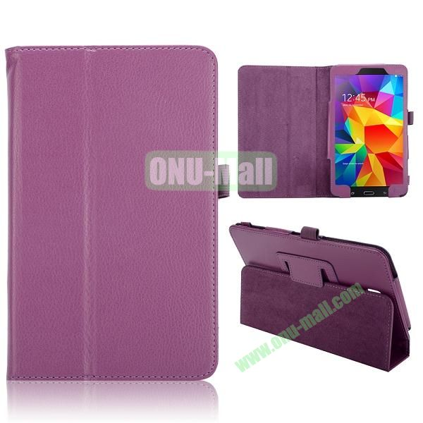 Lichee Texture Foldable Flip Leather Cover for Samsung Galaxy Tab 4 8.0 T330 ( Purple )