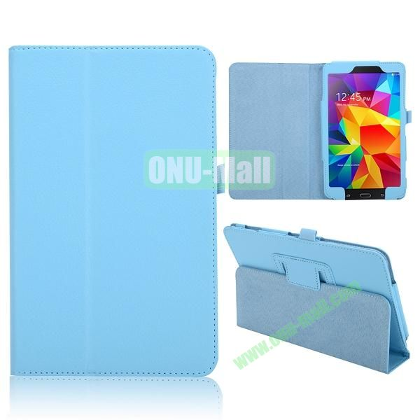 Lichee Texture Foldable Flip Leather Cover for Samsung Galaxy Tab 4 8.0 T330 ( Baby Blue )