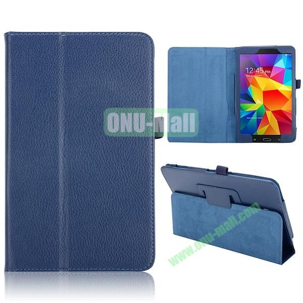 Lichee Texture Foldable Flip Leather Cover for Samsung Galaxy Tab 4 8.0 T330 ( Dark Blue )