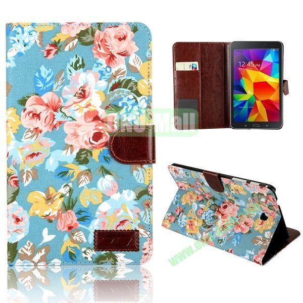 Elegant Flower Flip Pattern Wallet Leather Case for Samsung Galaxy Tab 4 8.0 T330 (Blue)