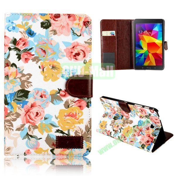 Elegant Flower Flip Pattern Wallet Leather Case for Samsung Galaxy Tab 4 8.0 T330 (White)